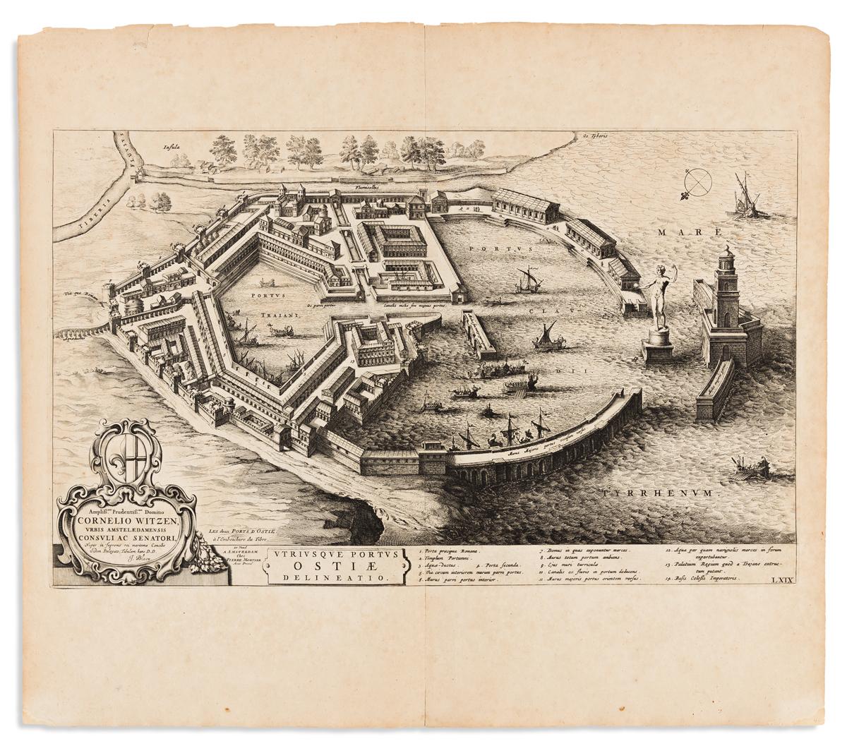 BLAEU, JOHANNES. Utriusque Portus Ostiae Delineatio.