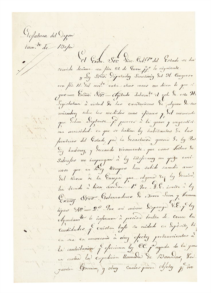 (TEXAS.) Músquiz, Ramón. Letter commanding the town of Goliad to contribute to the defense against hostile Indians.