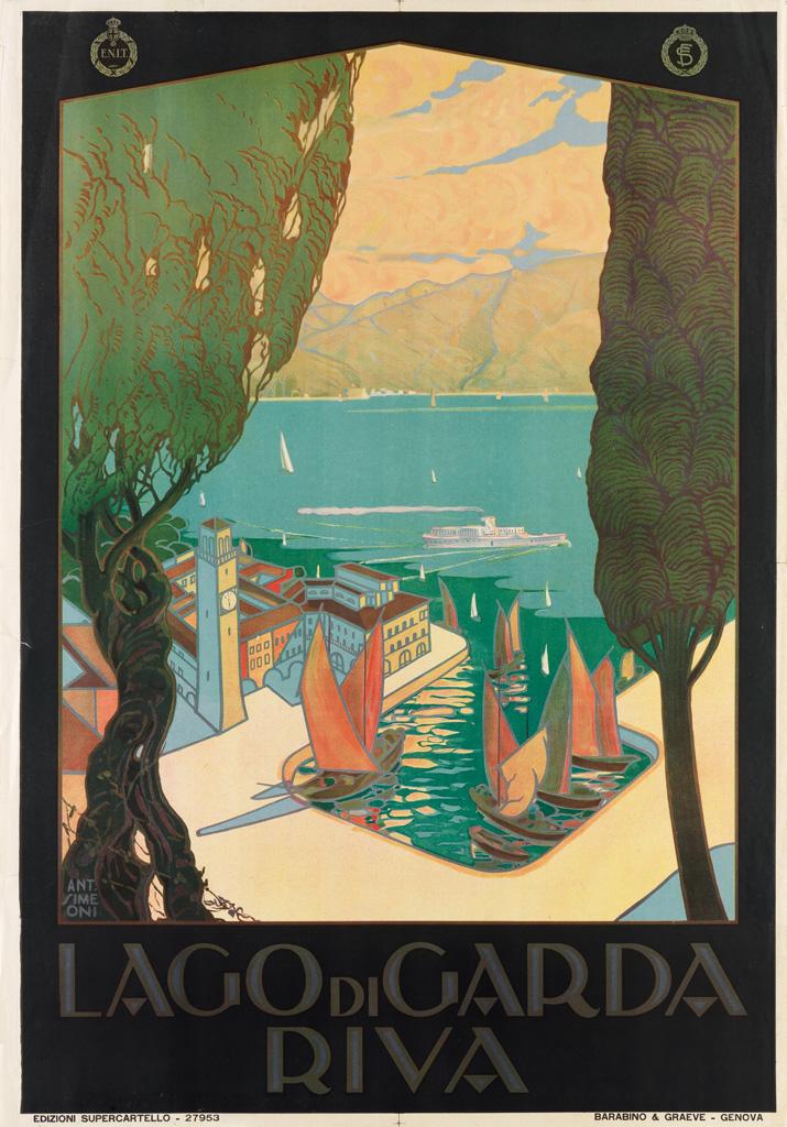 ANTONIO SIMEONI (DATES UNKNOWN). LAGO DI GARDA / RIVA. Circa 1926. 39x27 inches, 100x70 cm. Barabino & Graeve, Genova.