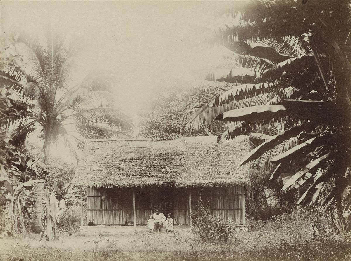 (FRENCH POLYNESIA--CHARLES GUSTAV SPITZ) A group of 19 photographs of Tahitis indigenous peoples and the tropical landscape, some depi