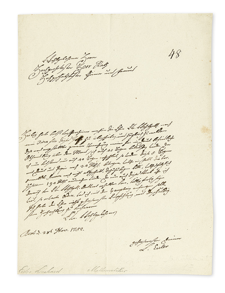 (SCIENTISTS.) EULER, LEONHARD. Autograph Letter Signed, L. Euler, to Secretary of the Saint Petersburg Academy of Sciences Johann Dan