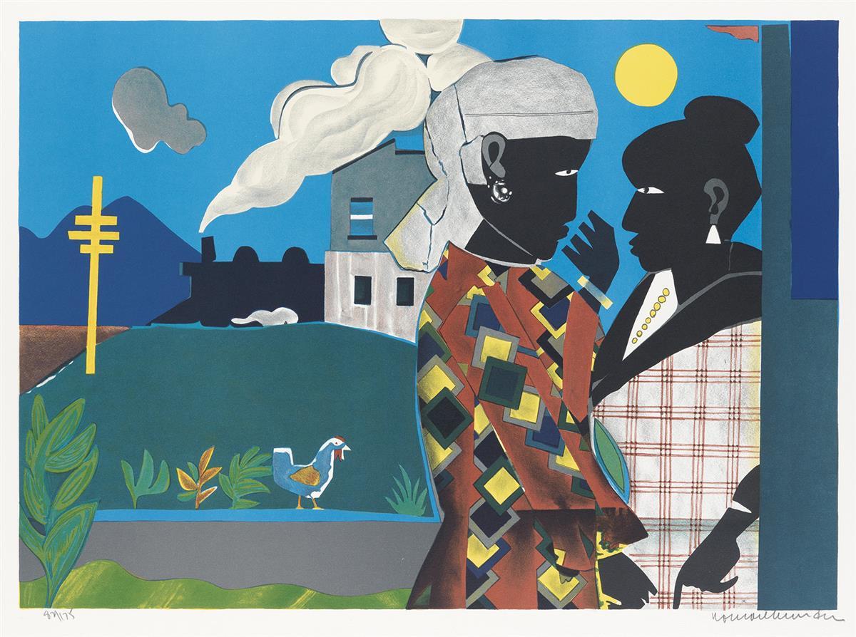 ROMARE BEARDEN (1911 - 1988) The Conversation.
