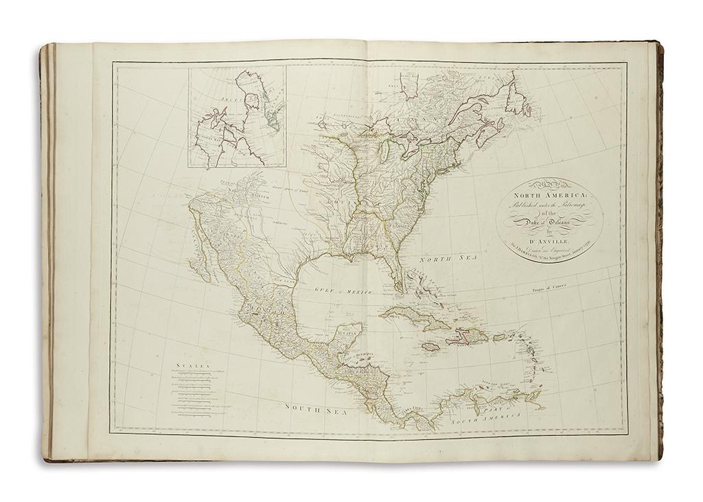 DANVILLE, JEAN-BAPTISTE BOURGUIGNON and HARRISON, JOHN. DAnvilles Atlas, Containing a Map of the World, the World in Twelve Maps;