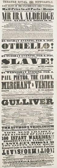 (THEATRE.) ALDRIDGE, IRA. Mr. Ira Aldridge, the African Roscius. . .On Monday Evening. . .Othello!