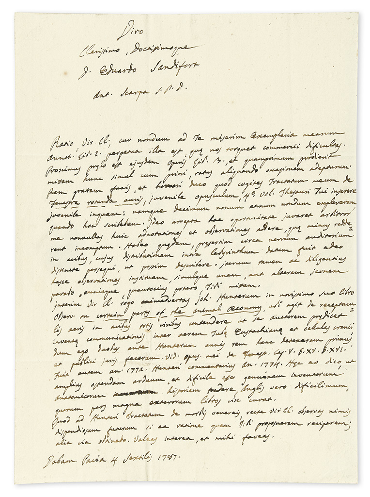 SCARPA, ANTONIO. Autograph Letter Signed, Ant. Scarpa, to anatomist Eduard Sandifort, in Latin and English,