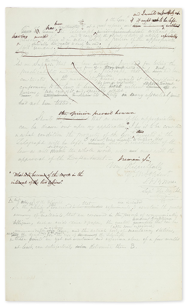MORSE, SAMUEL F.B. Autograph Letter Signed, S.F.B. Morse / Supt. Elec. Mag. Tel., to Treasury Secretary McClintock Young, retained dr