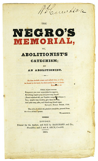(SLAVERY AND ABOLITION.) [FISHER, THOMAS AND OTTOBAH CUGUANO.] The Negro's Memorial, or Abolitionist's Catechism.