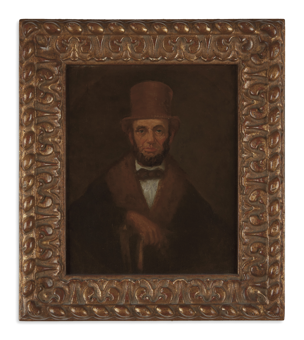 (PAINTINGS)-Portrait-of-Lincoln-in-a-brown-top-hat-and-cloak