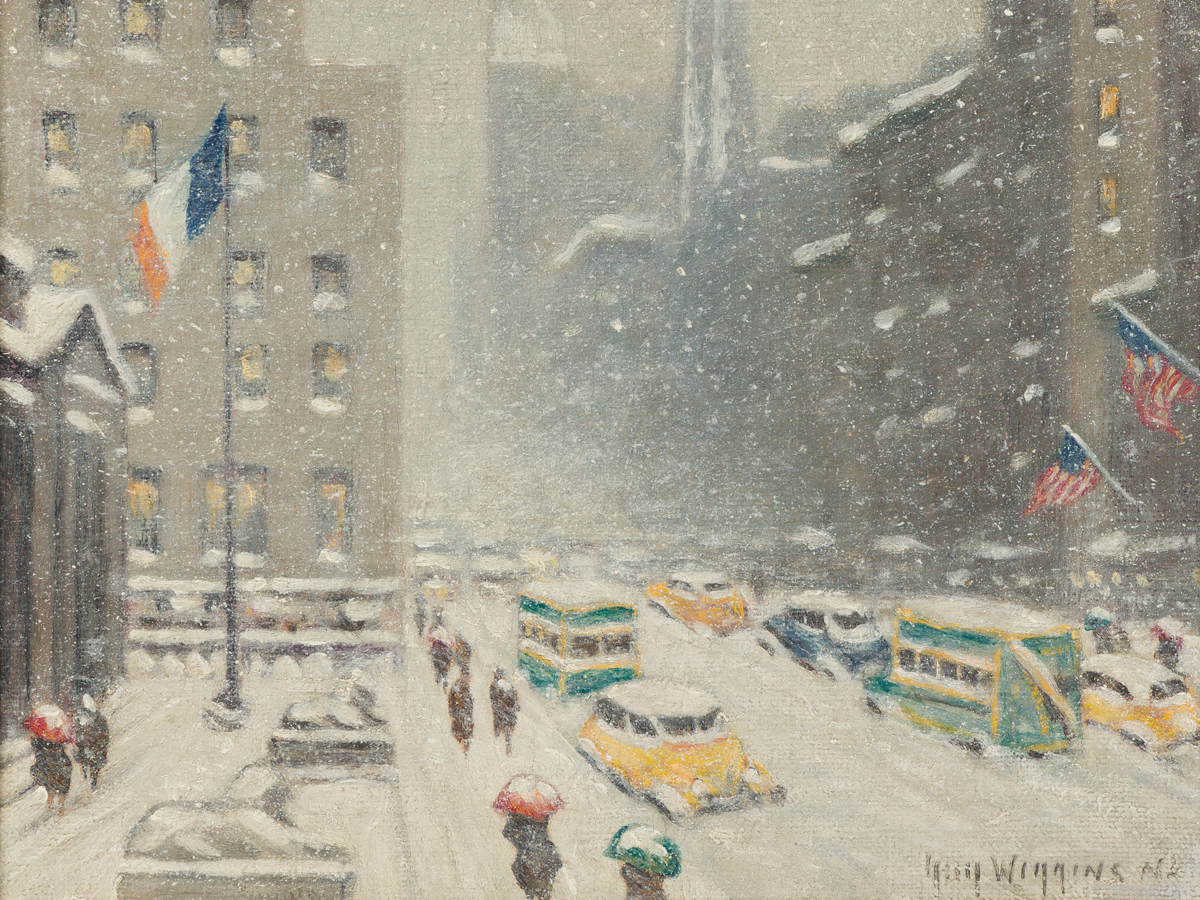 GUY WIGGINS Winter at the Library, New York.