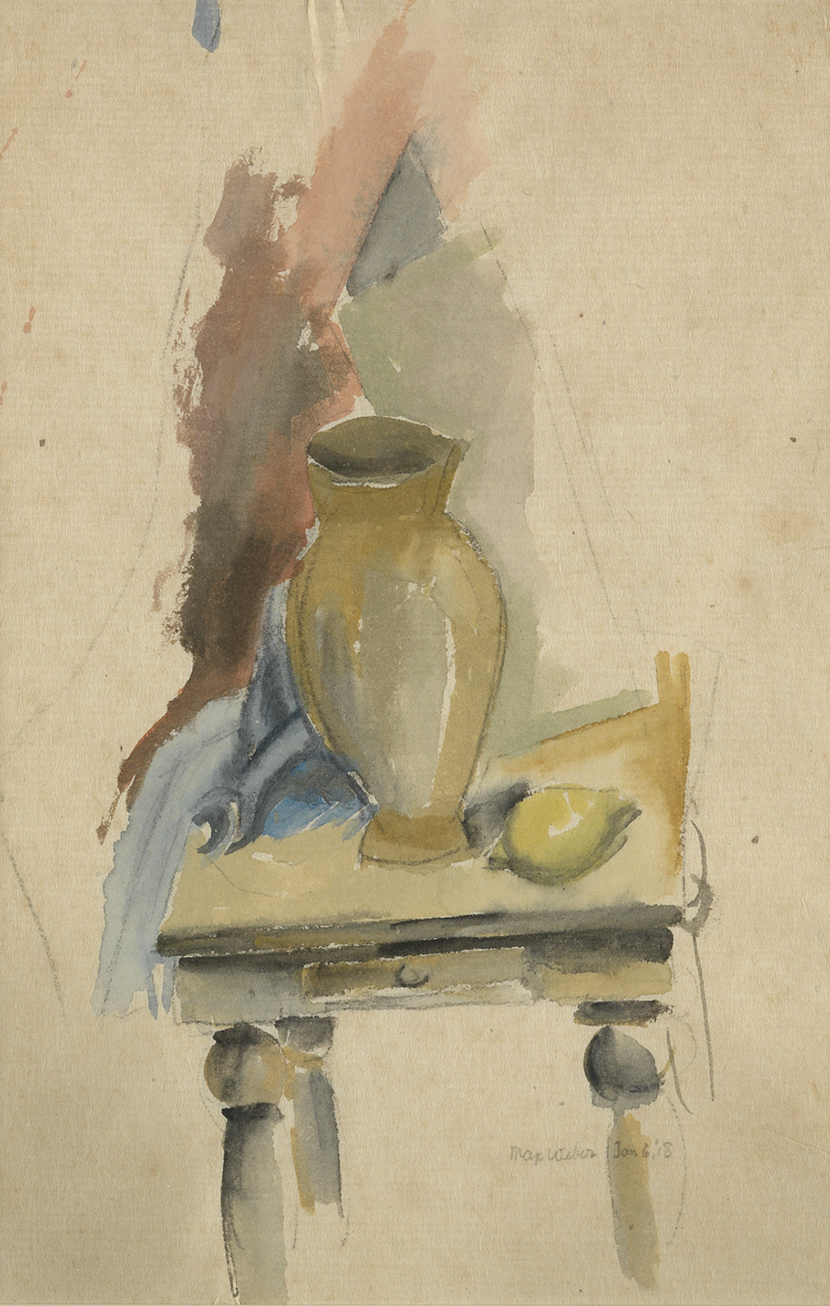 MAX-WEBER-Still-Life-with-a-Vase-and-Lemon