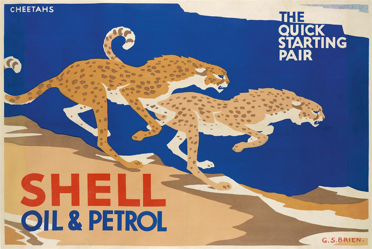 G. STANISLAUS BRIEN (DATES UNKNOWN). SHELL OIL & PETROL / THE QUICK STARTING PAIR. Circa 1930s. 29x44 inches, 75x111 cm.