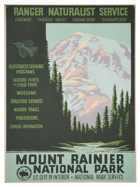 ANONYMOUS MOUNT RAINIER NATIONAL PARK. Circa 1938. 19x14 inches.