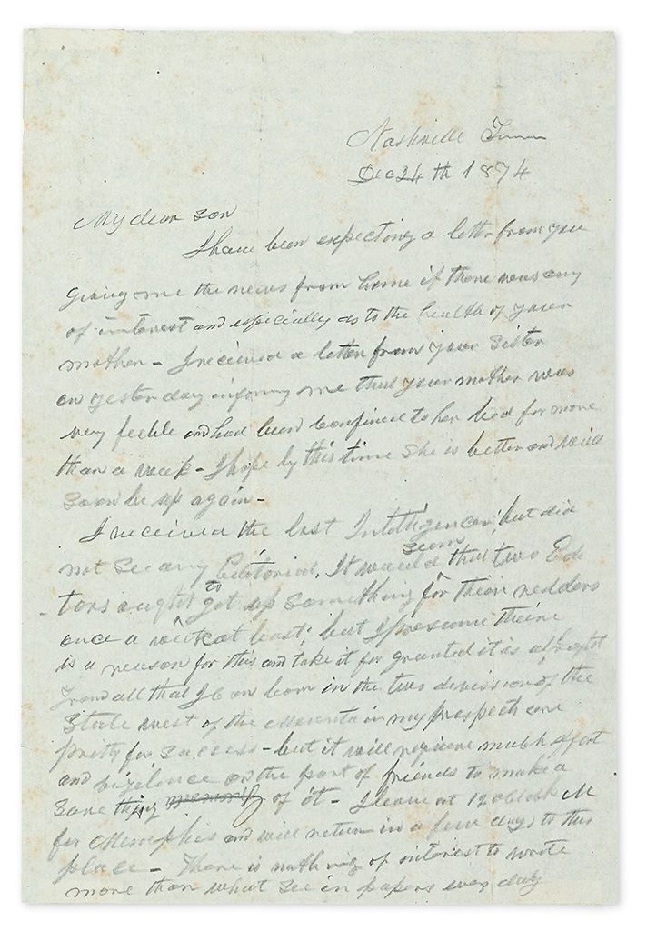 JOHNSON, ANDREW. Autograph Letter Signed, to his son Andrew Johnson, Jr., (My dear son), in pencil,
