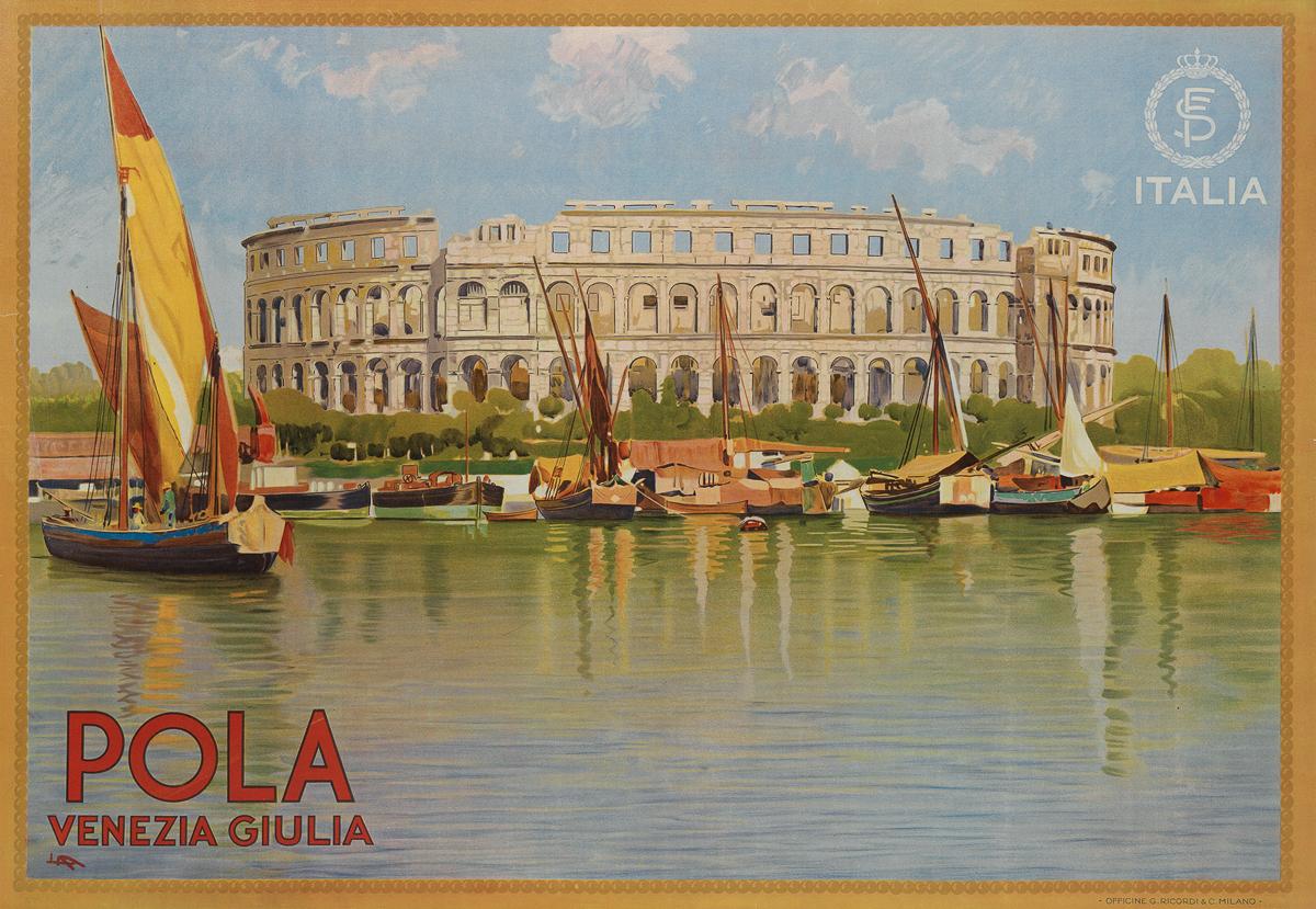 LEOPOLDO METLICOVITZ (1868-1944).  POLA / VENEZIA GIULIA. Circa 1920. 27¼x39¾ inches, 69¼x101 cm. G. Ricordi & C., Milan.
