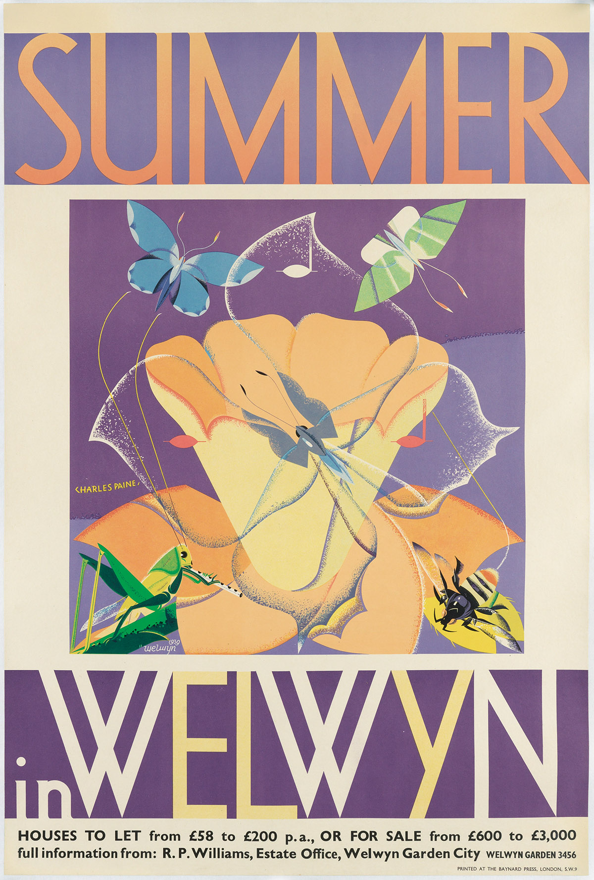 CHARLES-PAINE-(1895-1967)-SUMMER-IN-WELWYN-1939-29x19-inches