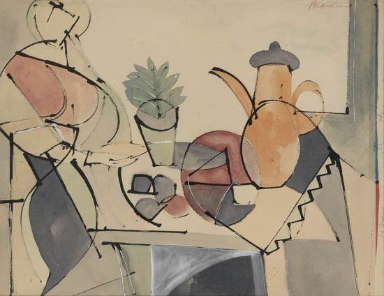 ROMARE BEARDEN (1911 - 1988) Untitled (Woman and Still Life).
