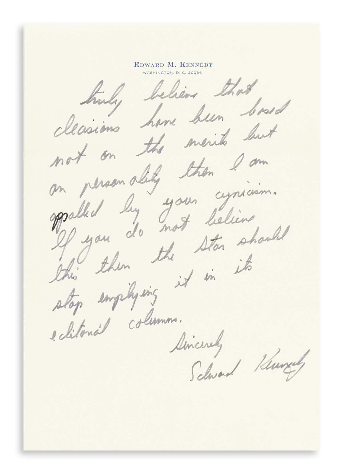 KENNEDY-EDWARD-M-Three-letters-Signed-Edward-Kennedy-or-Ted-