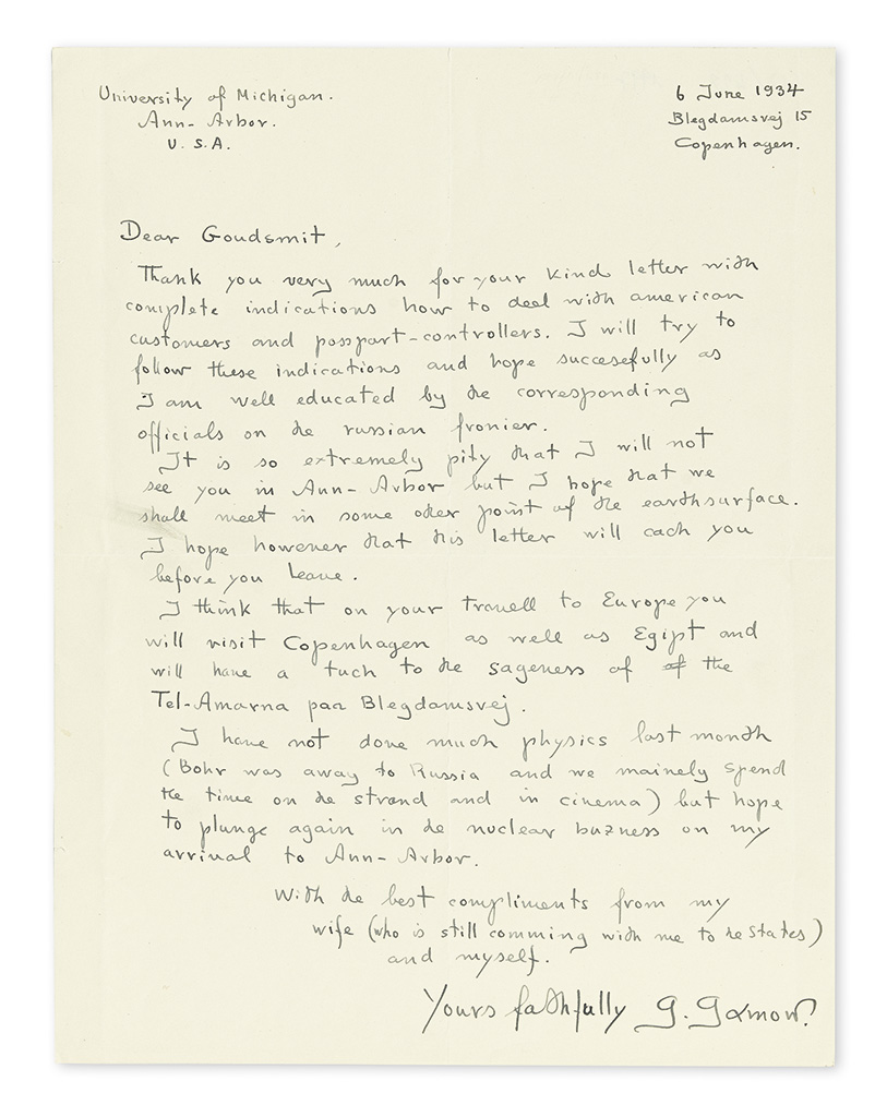 (SCIENTISTS.) GAMOW, GEORGE. Autograph Letter Signed, g. gamow, to American physicist Samuel Abraham Goudsmit, in English,