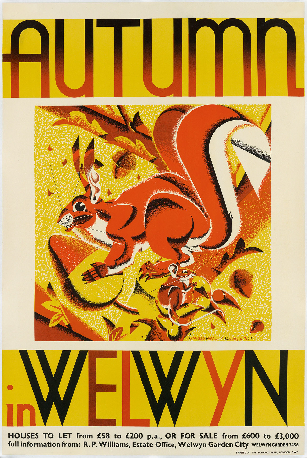 CHARLES-PAINE-(1895-1967)-AUTUMN-IN-WELWYN-1939-29x19-inches