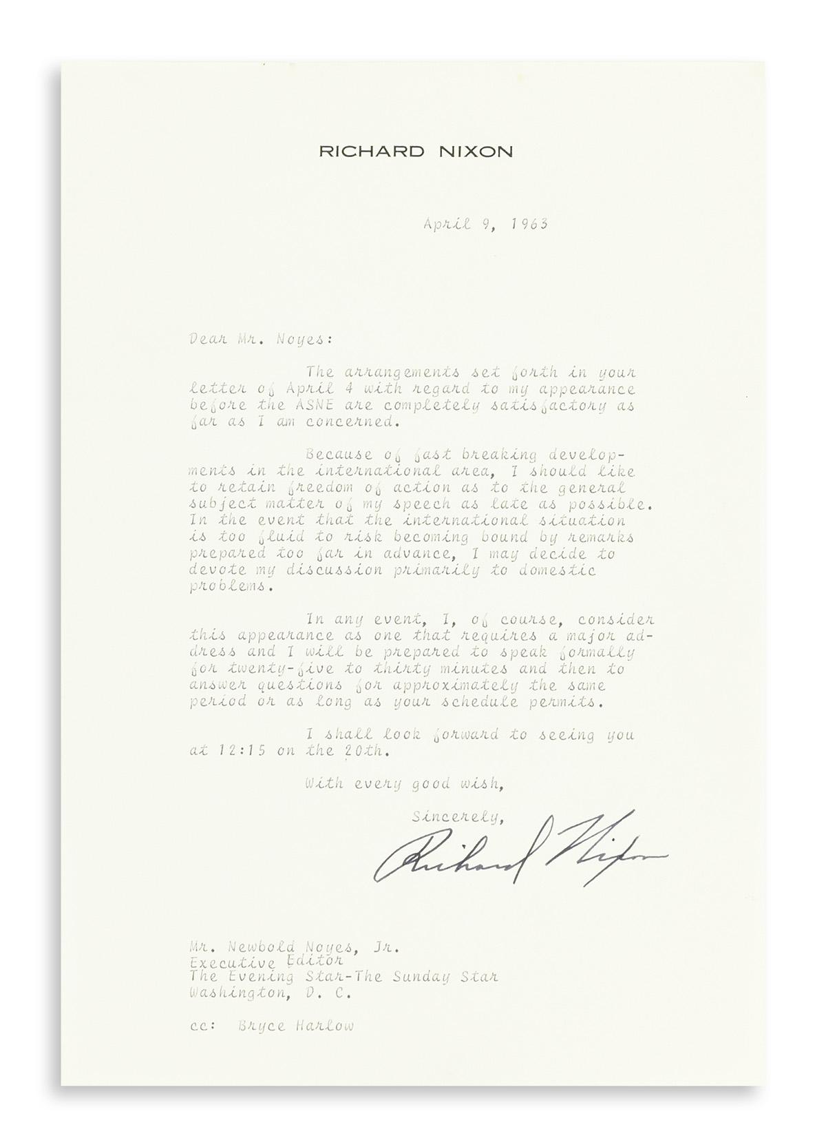 NIXON-RICHARD-M-Archive-of-10-typed-letters-to-Washington-Ev