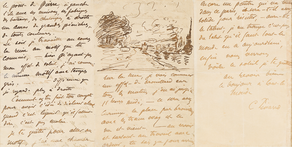 PISSARRO, CAMILLE. Illustrated Autograph Letter Signed, C Pissarro, to his son (My dear Lucien), in French,