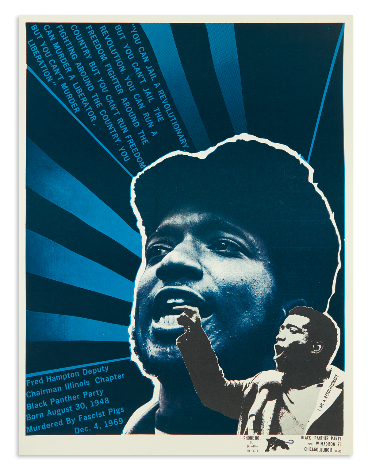 (BLACK PANTHERS.) [Douglas, Emory; artist.] You Can Jail a Revolutionary, but You Cant Jail a Revolution.