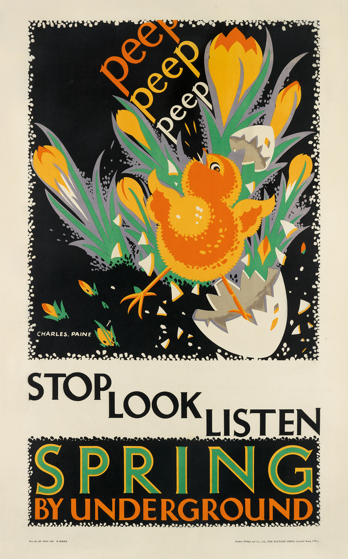 CHARLES PAINE (1895-1967). STOP LOOK LISTEN / SPRING BY UNDERGROUND. 1928. 39x24 inches, 101x63 cm. Sanders Phillips & Co., Ltd., Londo
