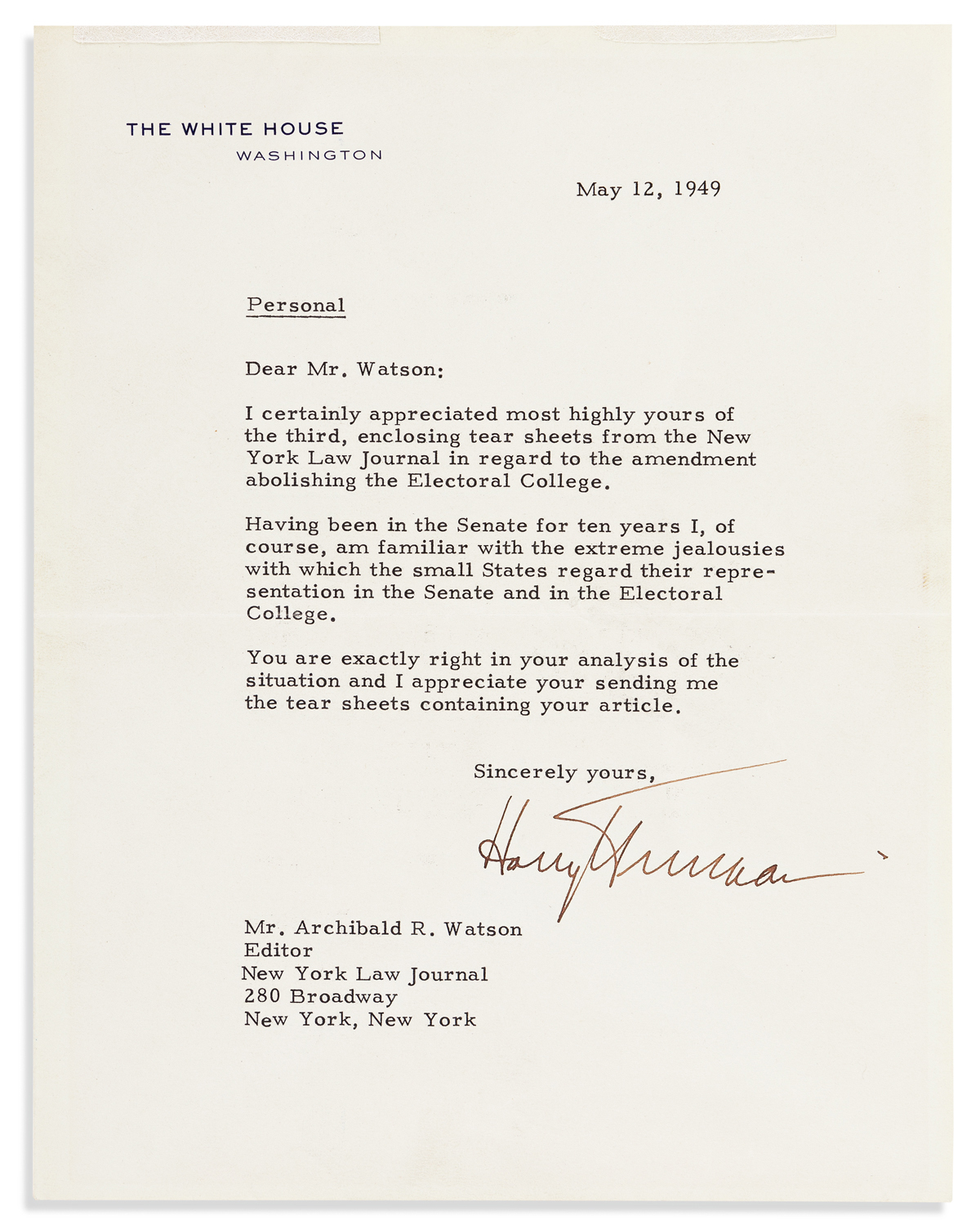 TRUMAN, HARRY S. Typed Letter Signed, as President, to Editor of the New York Law Journal Archibald Watson,