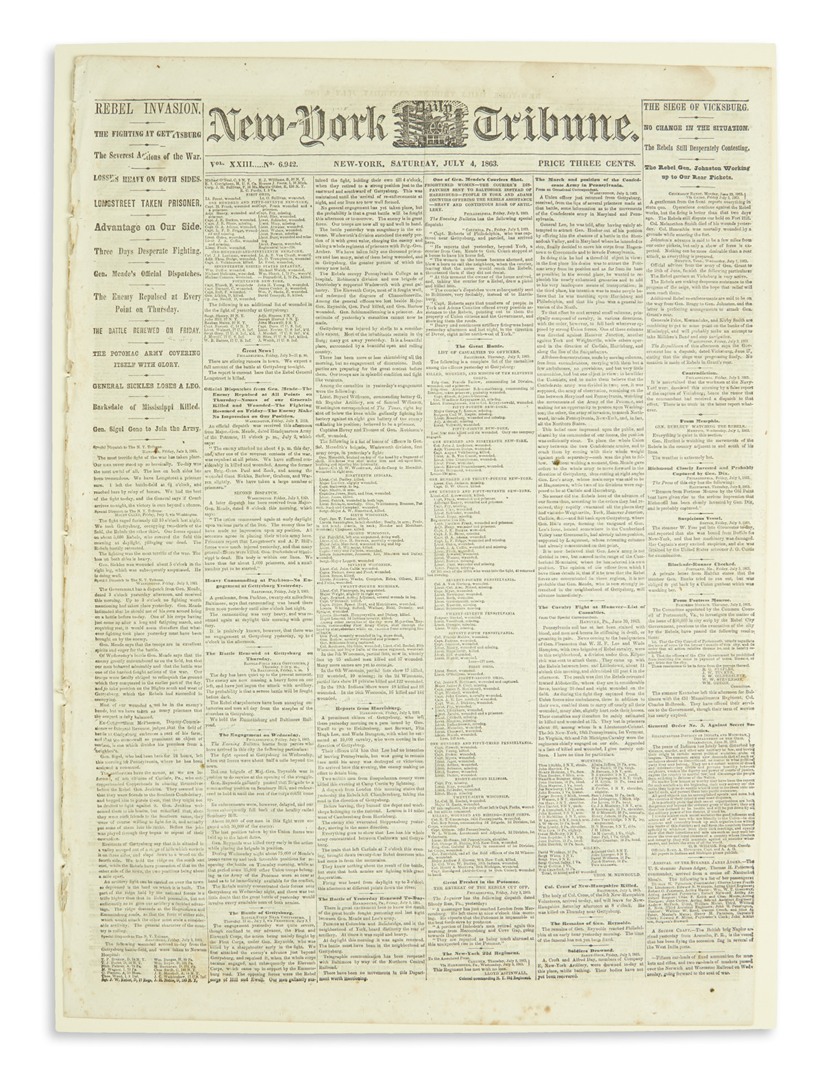 (CIVIL-WAR)-New-York-Tribune-account-of-the-Battle-of-Gettys