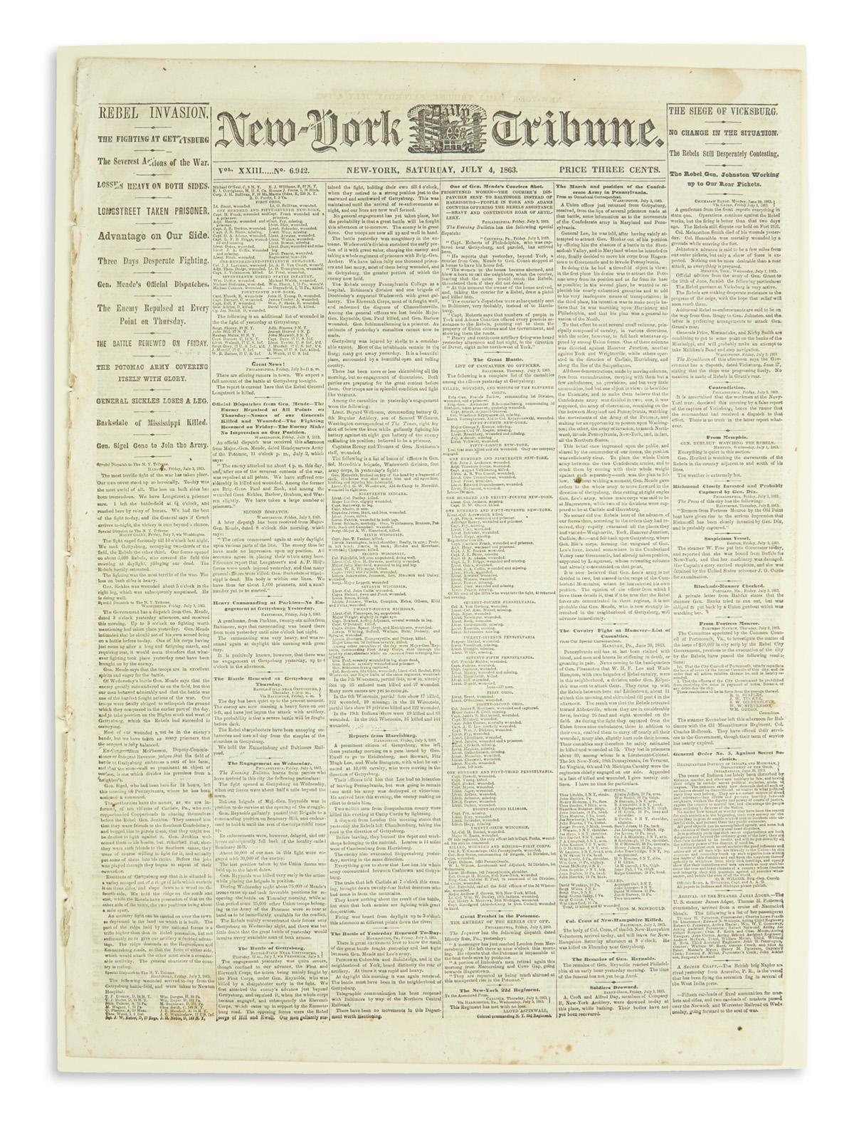 (CIVIL WAR.) New-York Tribune account of the Battle of Gettysburg.