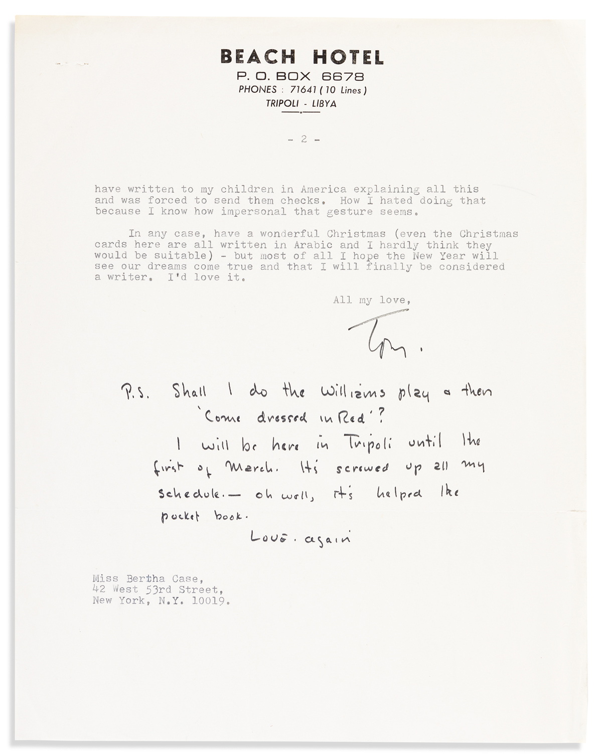 QUINN, ANTHONY. Typed Letter Signed, Tom, to Bertha Case (Dear Bertha), concerning the writing of his autobiography,