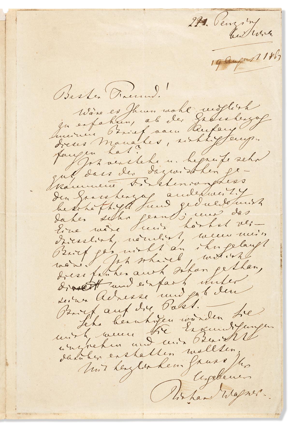 WAGNER, RICHARD. Autograph Letter Signed, to Dearest friend, in German,