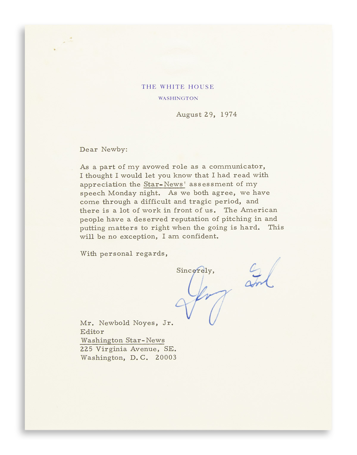 FORD, GERALD. Typed Letter Signed, as President, to Washington Star-News editor Newbold Noyes Jr.,