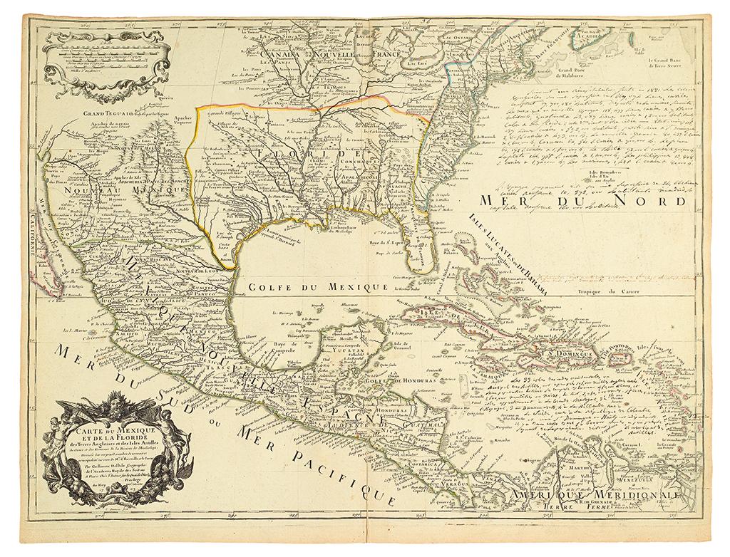DELISLE, GUILLAUME. Carte du Mexique et de la Floride des Terres Angloises et des Isles Antilles.