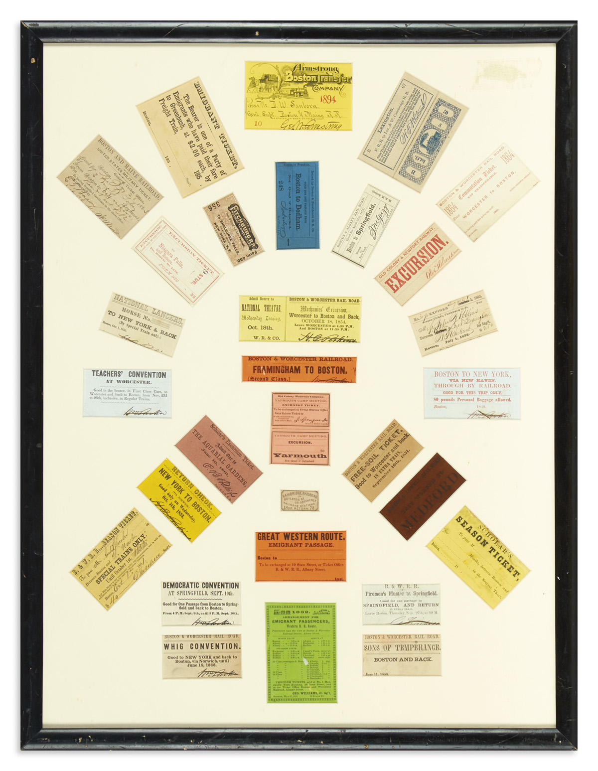 (RAILROADS)-Display-of-early-railroad-tickets-many-for-speci