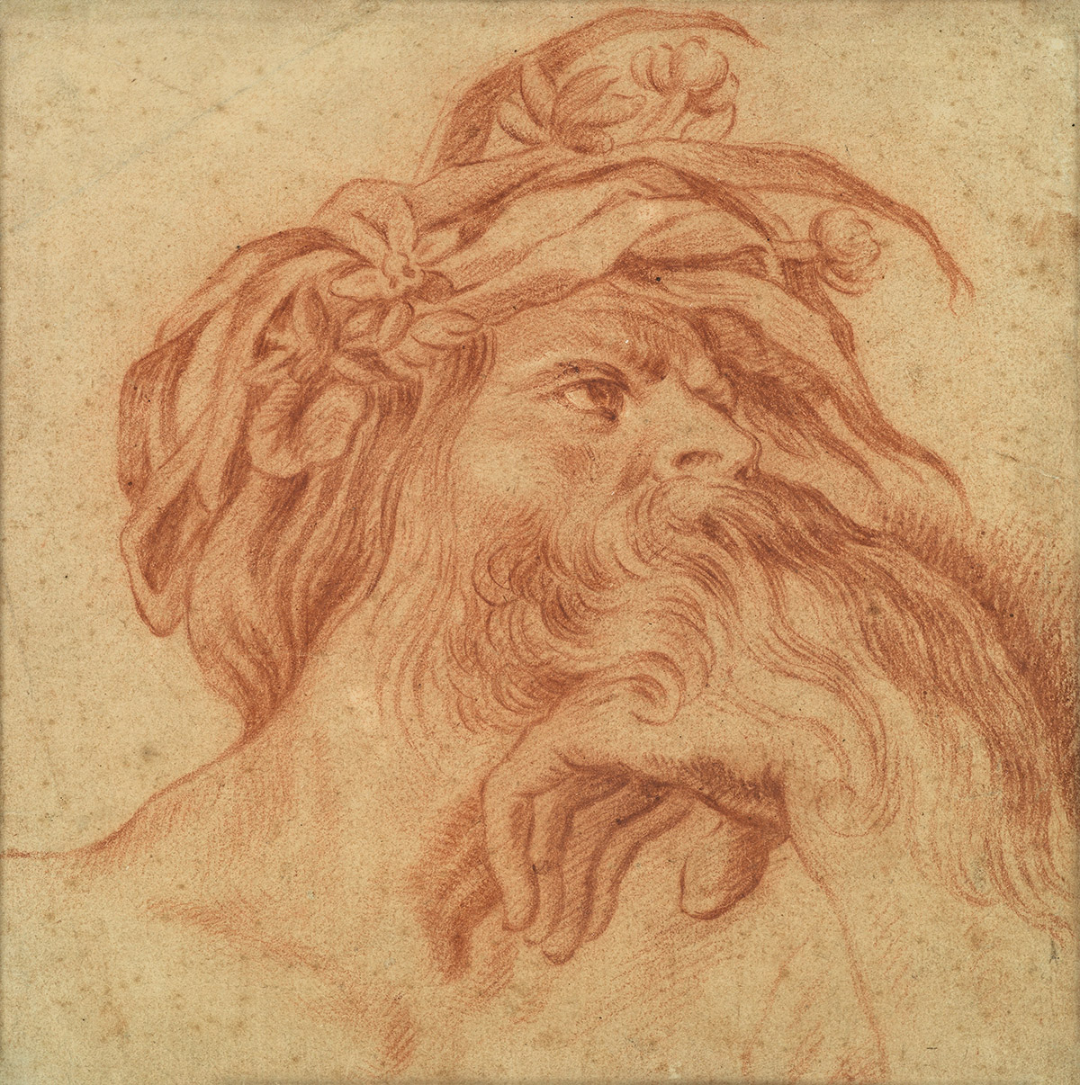 FRENCH-SCHOOL-17TH-CENTURY-Study-for-a-Head-of-a-River-God