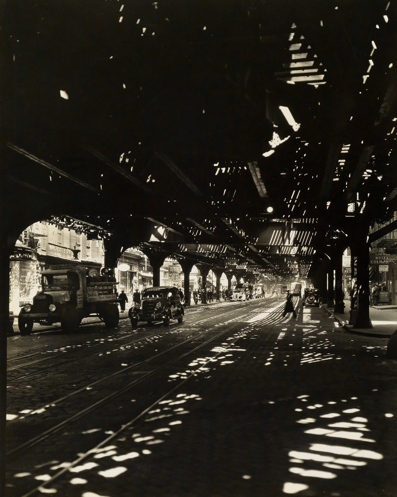 BERENICE ABBOTT (1898-1991) El 2nd & 3rd Avenue Line, Bowery taken from Division St.
