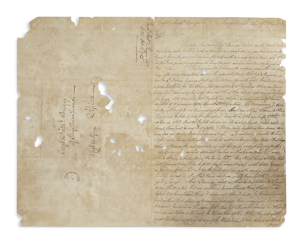 (SLAVERY AND ABOLITION.) Rodrigues Rivera, Jacob. Letter from a Newport slave trader to his veteran captain.