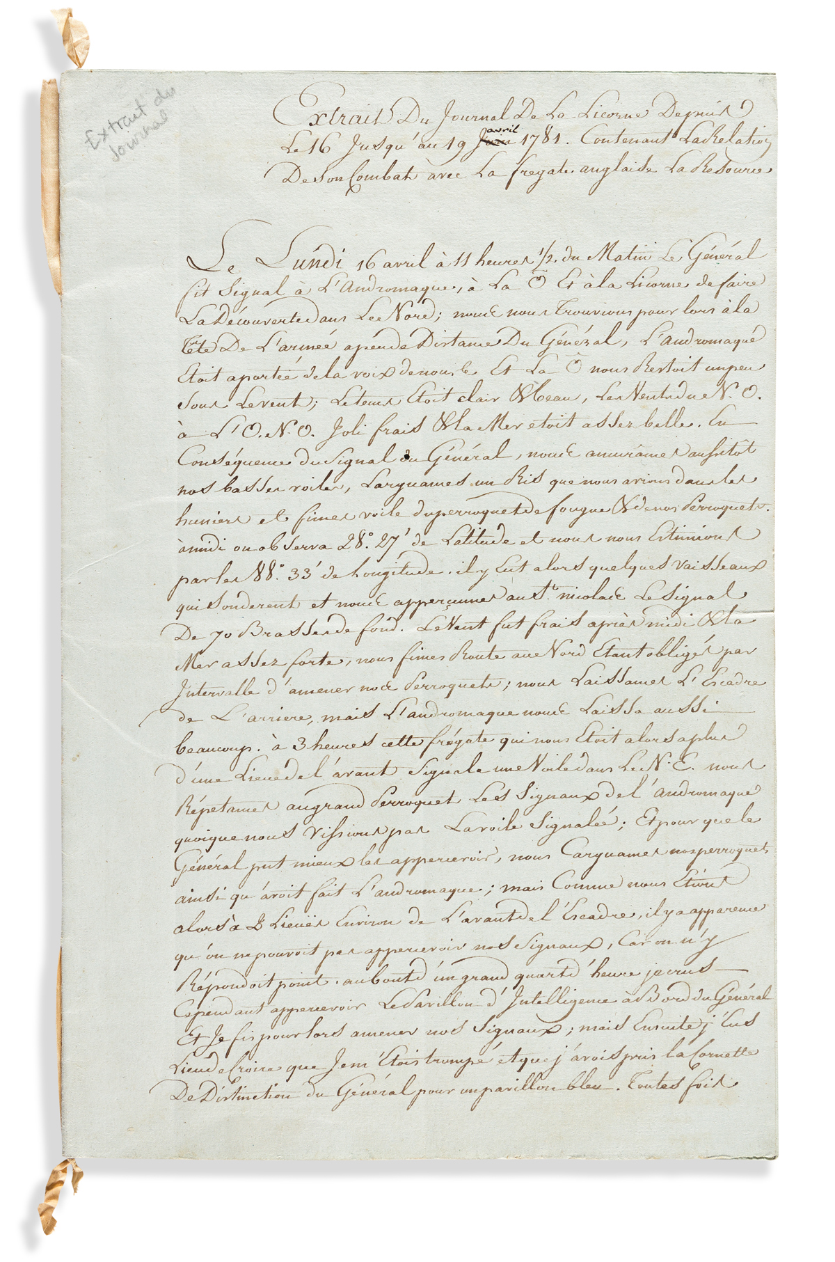 (AMERICAN REVOLUTION--1781.) Account of a French ships naval battle with the British off Pensacola.