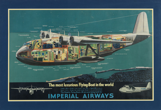 (AVIATION.) Imperial Airways. Imperial Airways. The most luxurious Flying-Boat in the world.