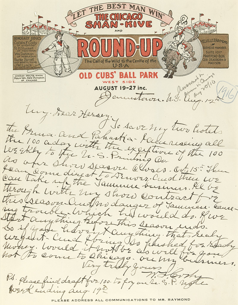 CODY, WILLIAM F. (BUFFALO BILL). Autograph Letter Signed, W.F. Cody, to his attorney Henry Hersey (My Dear Hersey),