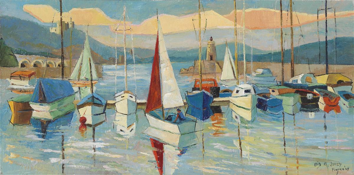 LOÏS MAILOU JONES (1905 - 1998) Boats at Théoule.