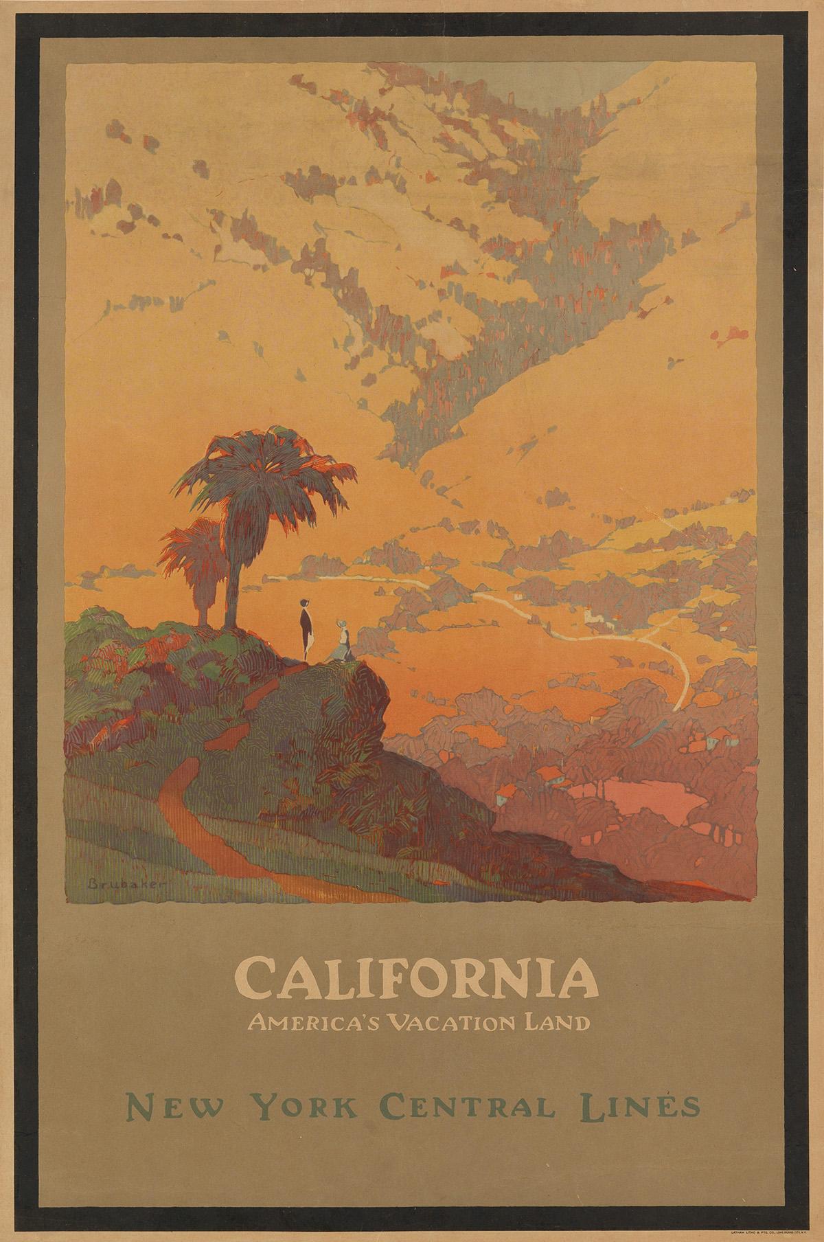 Jon O. Brubaker (1875-?).  CALIFORNIA / AMERICAS VACATION LAND / NEW YORK CENTRAL LINES. 1925.
