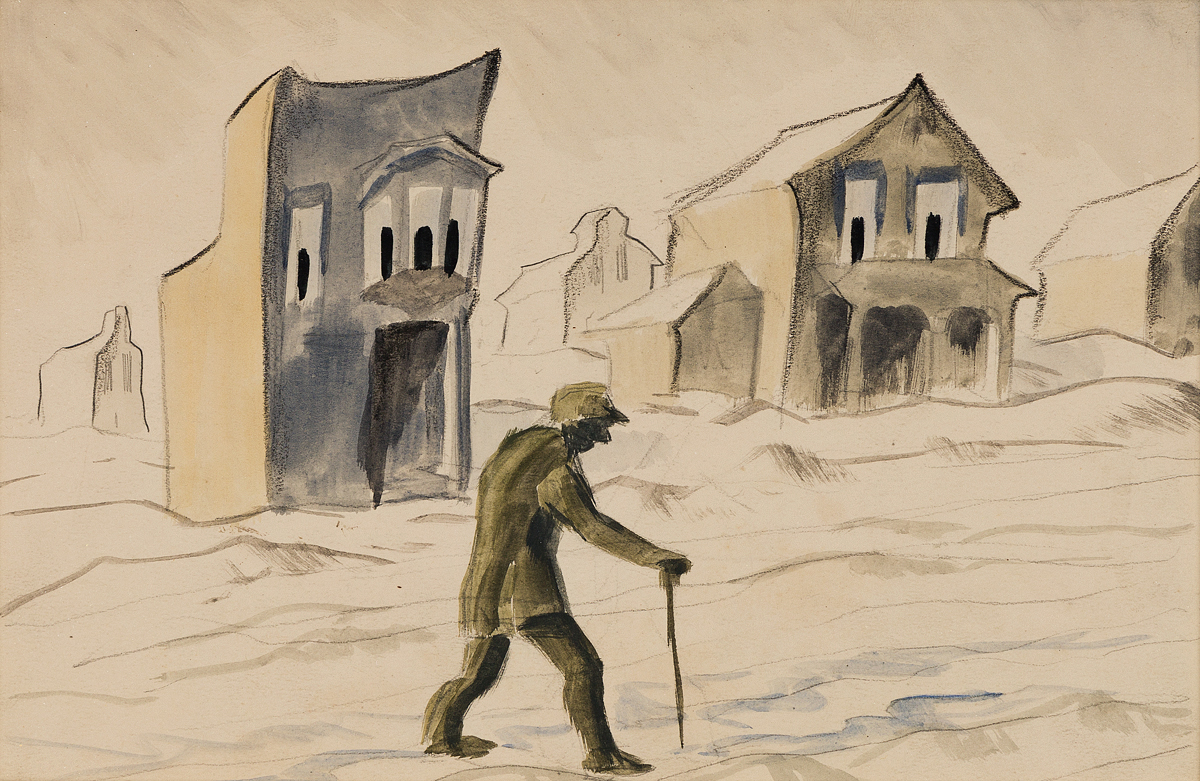 CHARLES-BURCHFIELD-Man-Walking-with-a-Cane-outside-Gazing-Ho