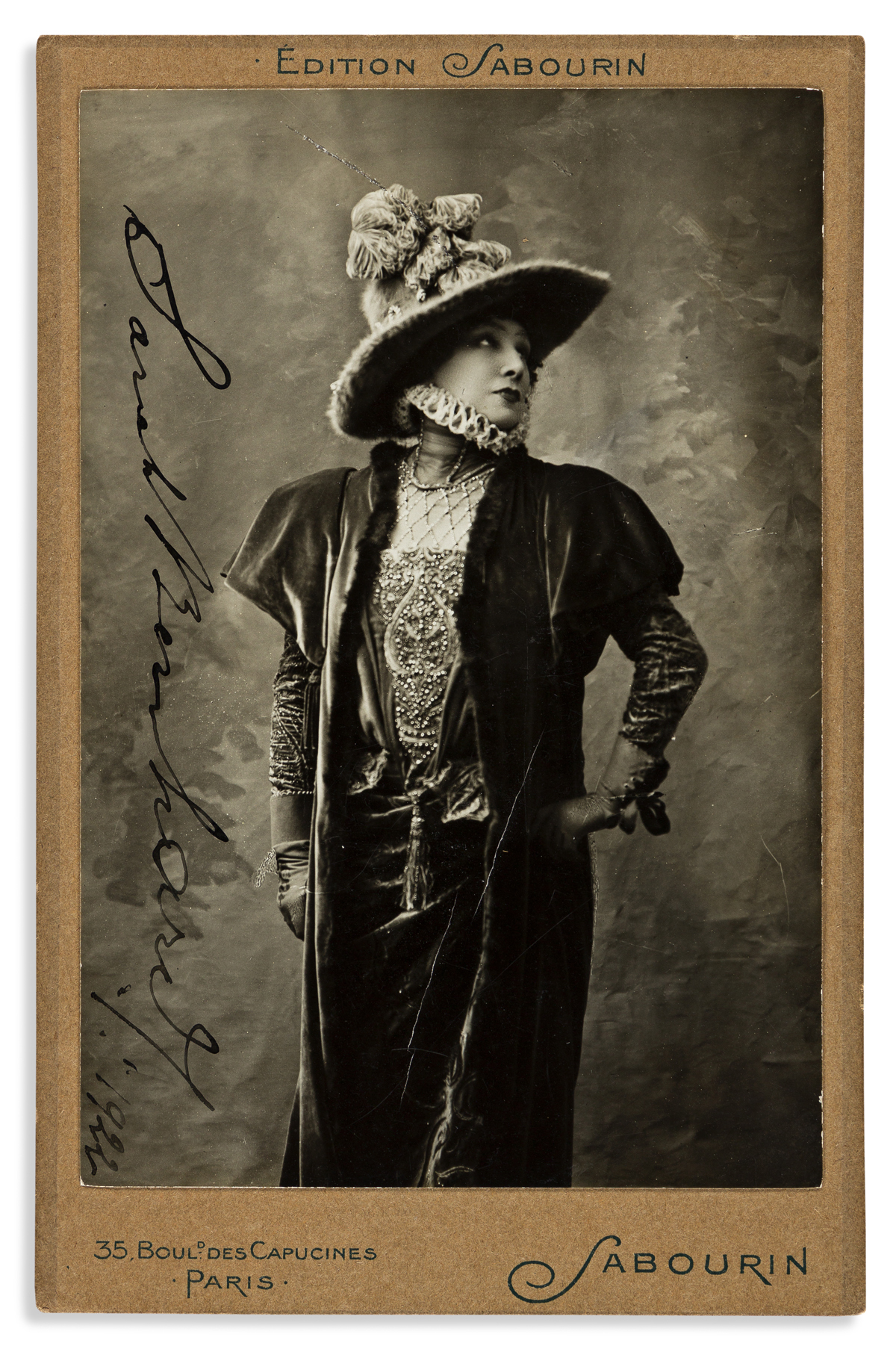 BERNHARDT, SARAH. Photograph dated and Signed, cabinet card,