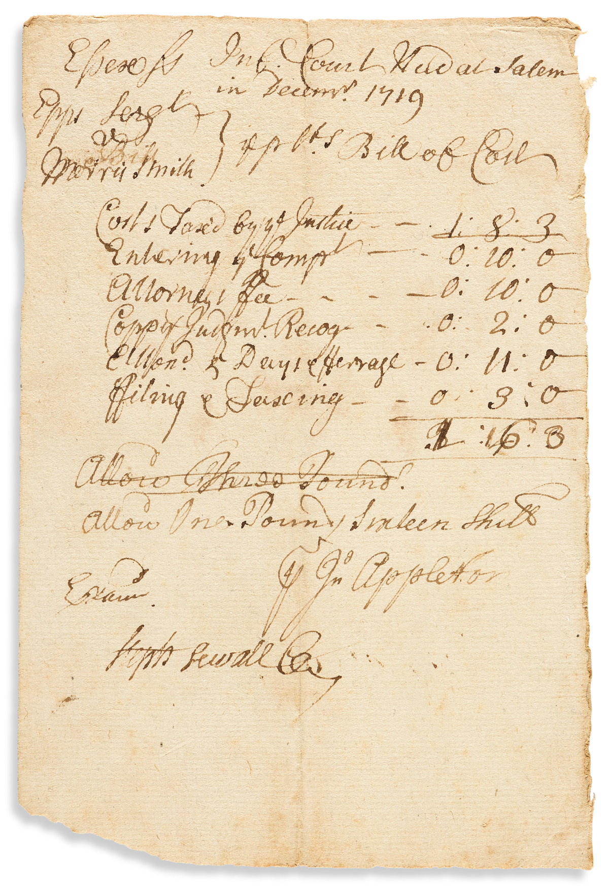 SEWALL, STEPHEN. Document Signed, Steph Sewall Cler[k], bill for court costs