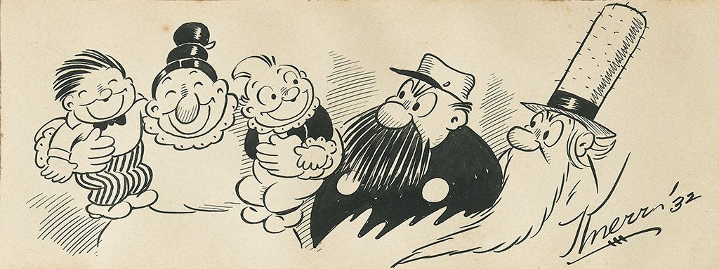 DEPRESSION-ERA-CARTOONS-and-AUTOGRAPHS-Group-of-5-original-p