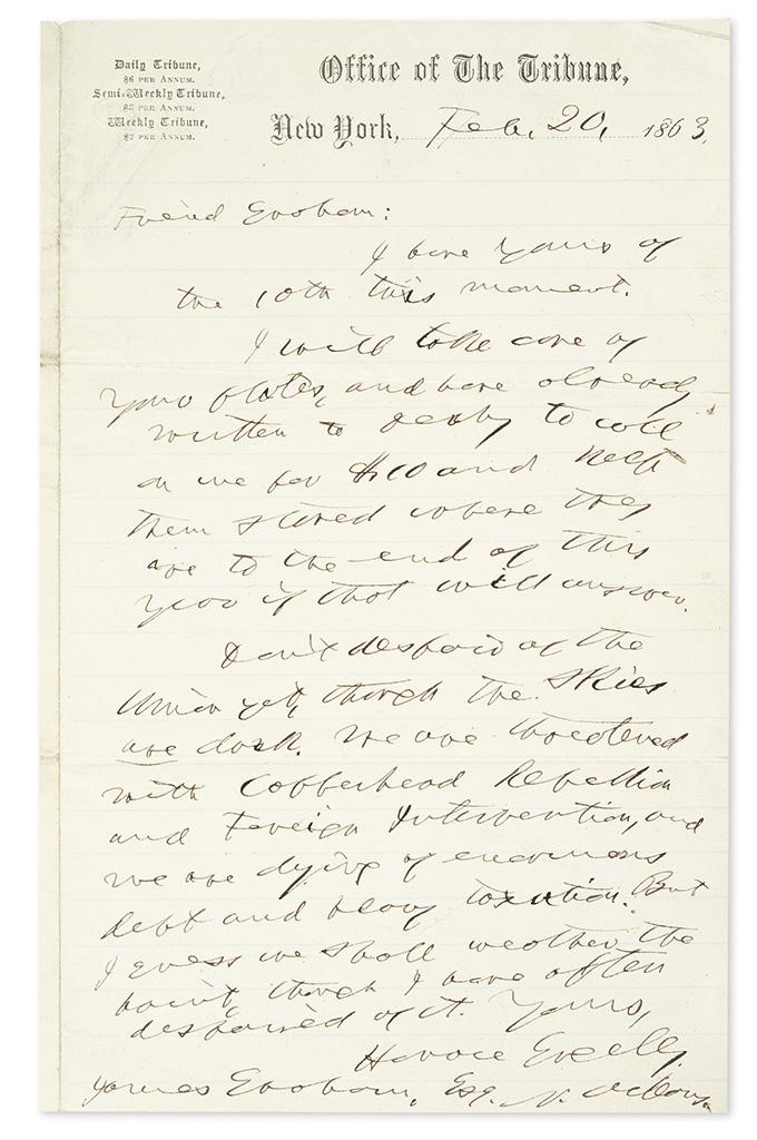 (CIVIL-WAR)-GREELEY-HORACE-Autograph-Letter-Signed-to-James-