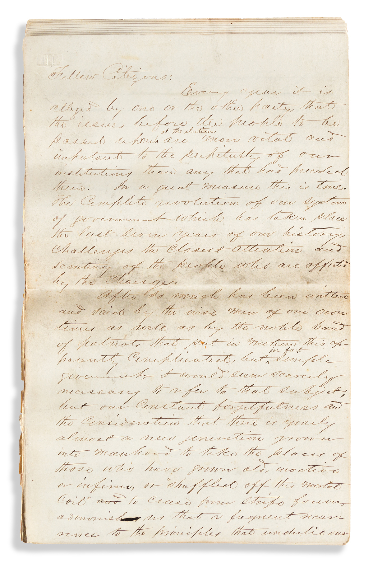 (PRESIDENTS--1868 CAMPAIGN.) Manuscript oration in support of the Democratic Party ticket delivered in rural Ohio.