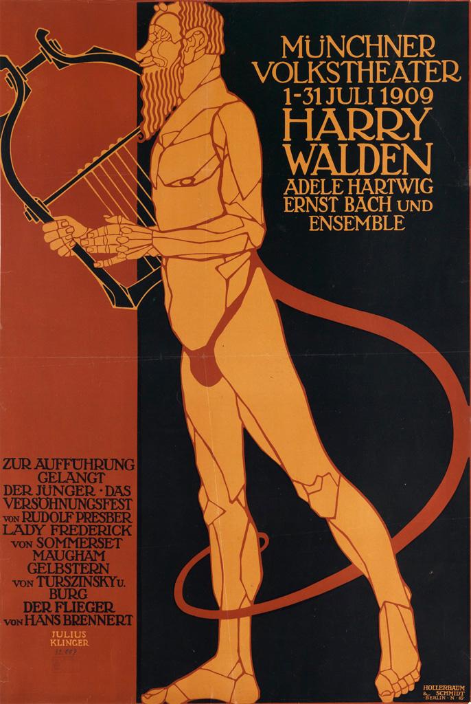 JULIUS KLINGER (1876-1942).  MÜNCHNER VOLKSTHEATER / HARRY WALDEN. 1909. 35x23 inches, 89x59 cm. Hollerbaum & Schmidt, Berlin.